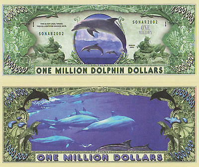 RARE: Dolphins $1,000,000 Novelty Note, Animals Buy 5 Get one FREE