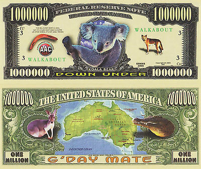 RARE: Down Under $1,000,000 Novelty Note, Animals Buy 5 Get one FREE