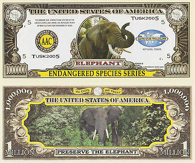 RARE: Elephant (Endangered Species) $1,000,000 Novelty Note, Buy 5 Get one FREE