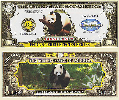 RARE: Giant Panda (Endang Species) $1,000,000 Novelty Note, Buy 5 Get one FREE