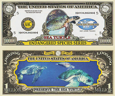 RARE: Sea Turtle (Endang Species) $1,000,000 Novelty Note, Buy 5 Get one FREE