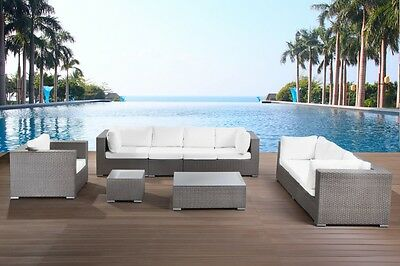 Outdoor Conversation Set Garden Patio  Lounge Furniture Grey Wicker Sectional