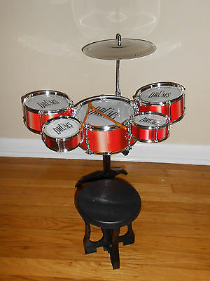 8 PC Fun Jazz Music Rock Band Plastic Toy Drums Set w/ chair for Kids US SELLER