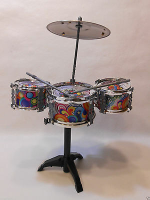 6 PC Fun Jazz Music Rock Band Electronic Plastic Toy Drums Set Light for Kids