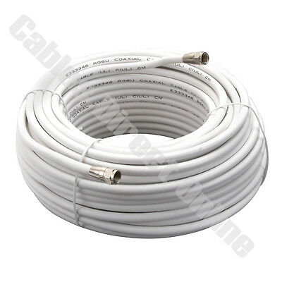 100FT Extension RG6 Coax Coaxial HD Satellite Dish Cable TV Antenna Wire Cord F