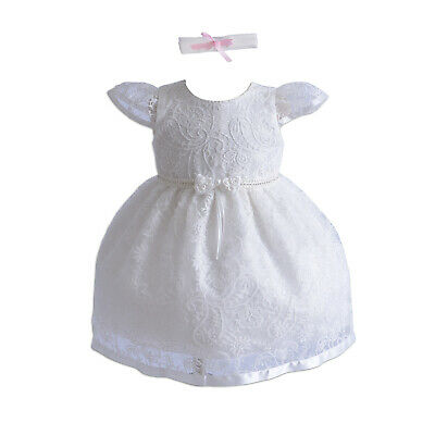 New Girls Ivory Lace Christening Party Dress 0 3 6 12 18 24 Months