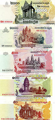 CAMBODIA beautiful bundle of 5 different UNC notes