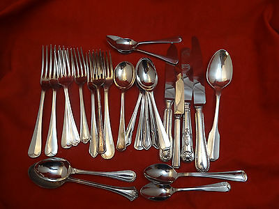 25 Place Setting Pieces - Mixed Lot of Silverplate & Stainless Steel Flatware