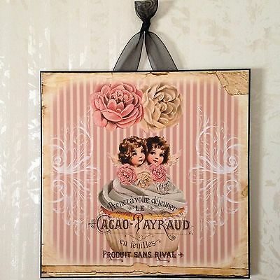 NEW Shabby French Cottage Angel Roses Cupcake Sign Plaque Wall Decor Chic