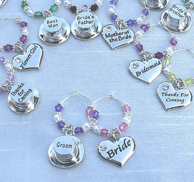 Wedding Table Decorations Light Blue Champagne  Wine Glass Charms Favours - DIY
