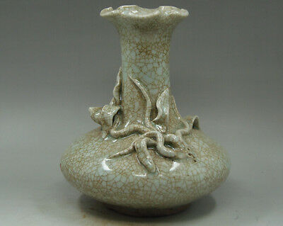 chinese Old Collectibles Decorated Chinaware Porcelain carving flowers vase