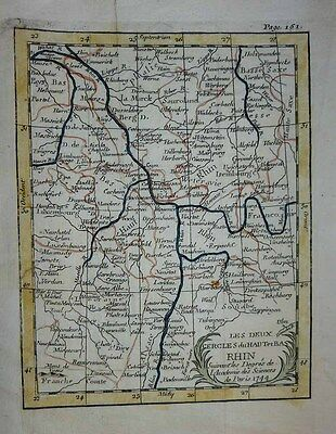 1744 Buffier (Van der Aa) Map COURSE OF THE RHINE Breisach to Emmerich, Environs