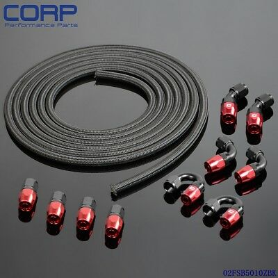 AN10 Stainless Steel Braided Hose + Fitting Hose End Adaptor Kit Oil Fuel Cooler
