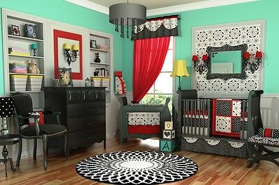 100% COTTON DK LEIGH 10PC BLACK WHITE & RED GIRL CRIB NURSERY BEDDING NEW