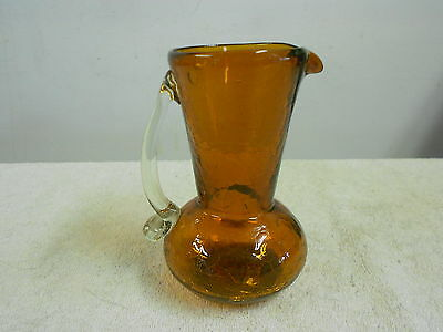 """crackle glass hand blown pitcher brown w/clear handle 5"""" high   (1/18)"""