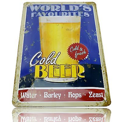 Worlds Favourite Cold Beer! Retro WALL SIGN - Man Cave Pool Room Xmas
