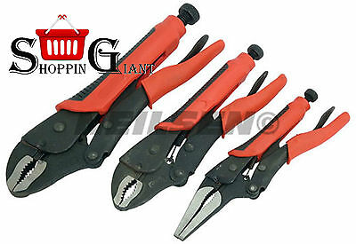 3pc Locking Pliers Set Curved Jaw & Long Nose Vice Clamp Mole Grips Wrench 1022