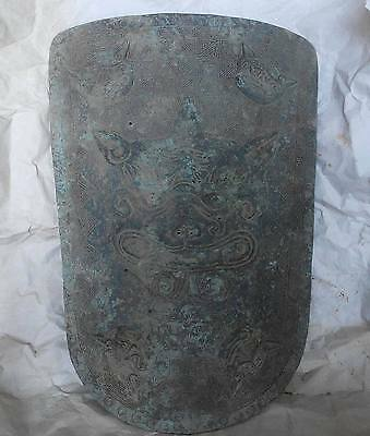 Fine China bronze defence weapon shield tiger head inscription