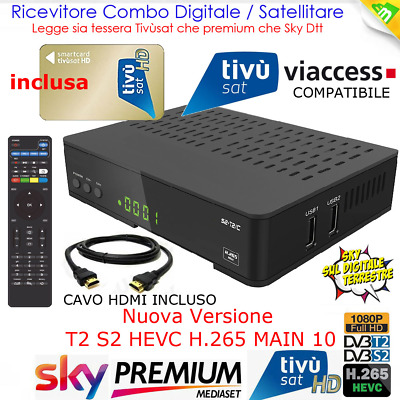 Kit Decoder Combo Satellitare E Terrestre + Scheda Tivu Sat Gold Full Hd
