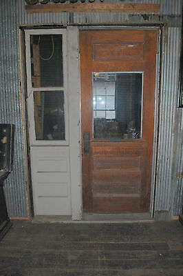 Antique Oak Door / W/ Side Window  Architectural Salvage