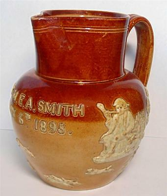 Doulton Lambeth Stoneware Hunting & Tavern Jug J.h & M.e.a Smith 1895