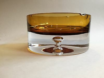 Vintage Mid Century Krosno Amber & White Glass Ashtray With Controlled Bubble