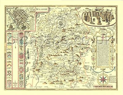 Wiltshire Stonehenge Framed  Replica Old  John Speed c.1610 Map ALL HAND COLOUR