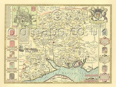 Hampshire Winchester John Speed Replica Old  Map c.1610 ALL Hand Coloured GIFT?