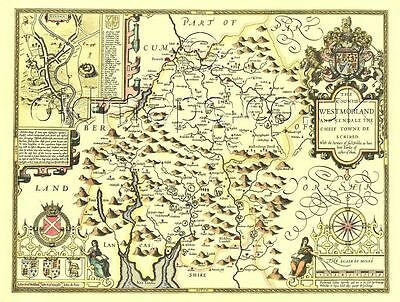 Westmorland Kendal Replica Speed Old map c.1610. Hand Coloured Great Gift Idea