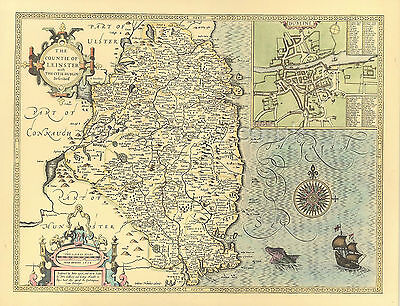 Leinster map ALL HAND COLOURED Replica Old John Speed c.1610 Map  A UNIQUEGift!