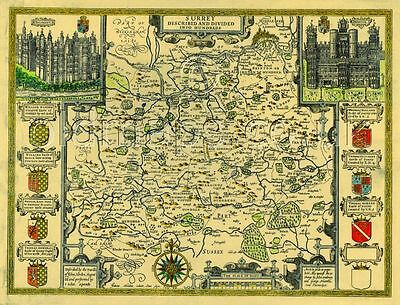 Gloucestershire Gloucester Replica map Old John Speed c.1610 ALL Hand Coloured