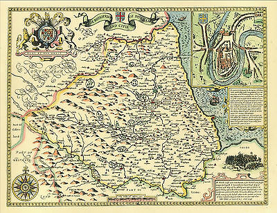 Durham Replica John Speed Old map c.1610.ALL Hand Coloured - A Great Gift Idea!