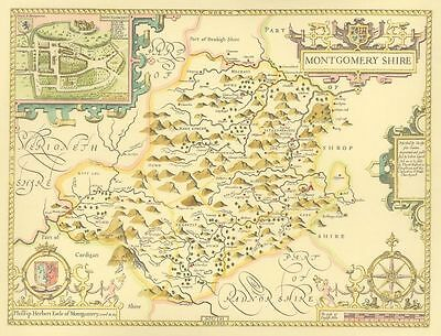 Montgomeryshire Replica John Speed Old map ALL HAND COLOURED  Unique gift!!