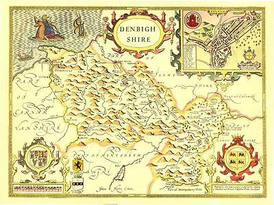Denbighshire Replica HAND COLOURED Old John Speed map c.1610  UNIQUE Gift Idea