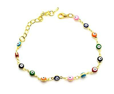 Evil eye gold plated bracelet from Israel multi colors beads JEWISH JEWELRY NEW