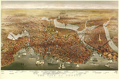 Vintage Map of Boston 1873 Fine Art Reproduction Print