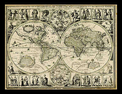 Vintage Antique Style World Map 1645 Archival Quality Reproduction Print