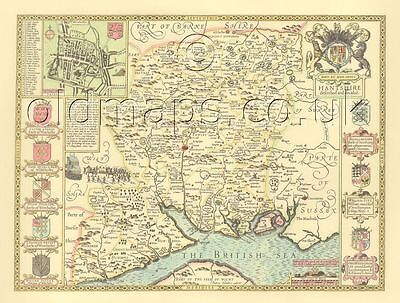 Hampshire Winchester J Speed Replica Old Map ALL Hand Coloured c1610 UNIQUE GIFT