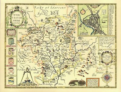 Worcestershire  Replica J. Speed Old Map c.1610 ALL Hand Coloured  unique Gift?