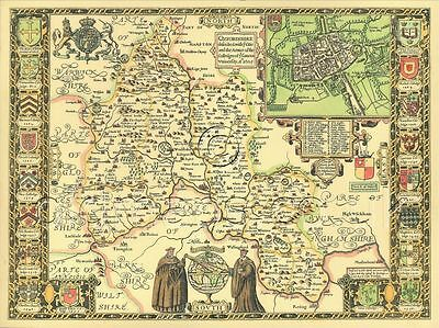 Oxfordshire Oxford Replica Old  J Speed c1610 Map ALL Hand Coloured UNIQUE GIFT