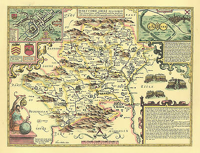 Hertfordshire Hertford Replica John Speed map c1610 ALLHand Coloured UNIQUE GIFT