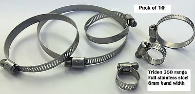 Pk of 10 TRIDON 350 RANGE 8mm band FULL STAINLESS STEEL16-16-65-88mm*CHOOSE SIZE