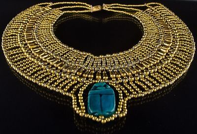 Golden Egyptian Hand Made Multi Beaded Cleopatra Scarab Necklace