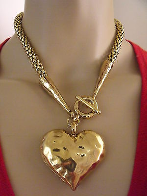 GOLD Heart Statement Necklace. T Bar Chunky Hammered Effect on Chain