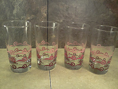 VINTAGE LIBBEY PINK AND RED SWIRL TUMBLERS - SET OF 4 - NEVER USED! - RETRO!
