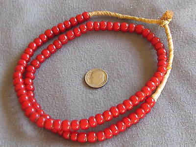 "21"" Str Vintage African Trade Beads, Red White Hearts 6-8mm"