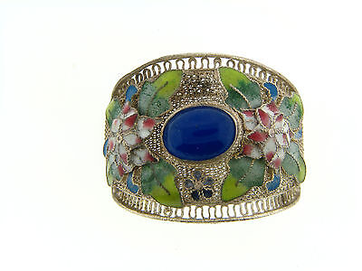 Vintage Coin Silver Filigree Mesh Cloisonné Enamel Blue Oval Cab Jewelry Finding