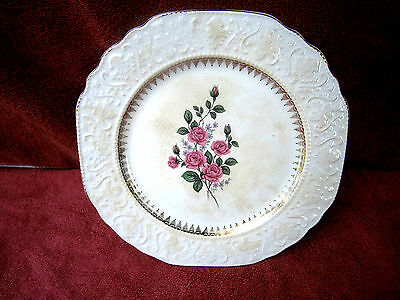 Vintage  Stratford  By  Wood  &  Sons  Rose  Design  White  Ironstone  Plate
