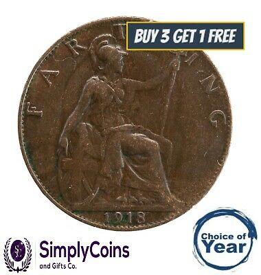 1911 TO 1936 GEORGE V BRITISH FARTHINGS 1/4d - CHOICE OF YEAR / DATE