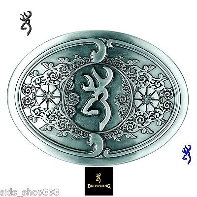 Browning Embossed Metal Browing Logo Belt Buckle Scroll design silver color